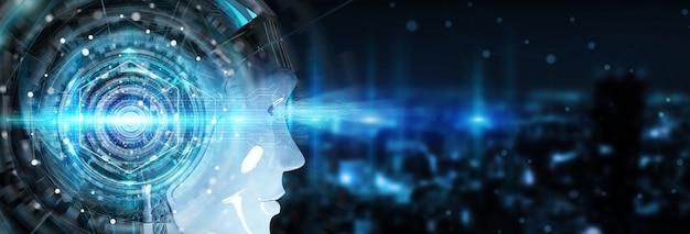 Cabeça ciborgue usando inteligência artificial para criar a renderização 3d da interface digital
