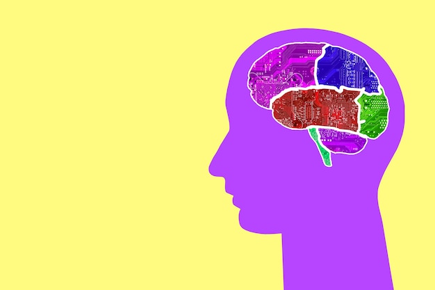 Cabeça com cérebros multicoloridos de chips em um fundo colorido