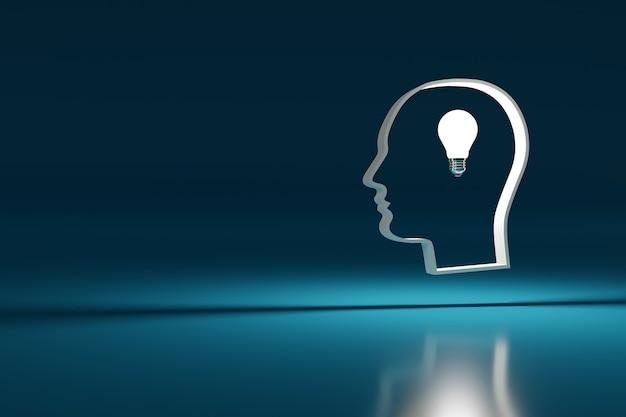 Cabeça com uma lâmpada no centro. conceito de ideia.