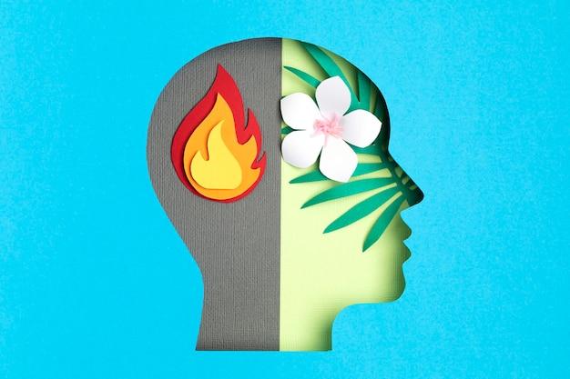 Cabeça cortada em papel, conceito de transtorno bipolar adulto