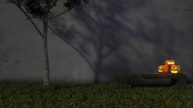 Cabeça de abóbora 3ds pendurar na árvore