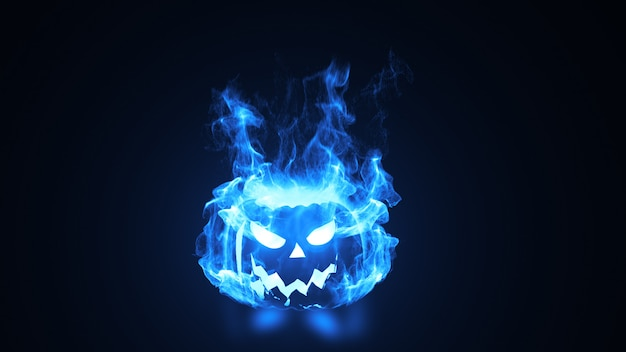 Cabeça de abóbora de halloween em chamas.