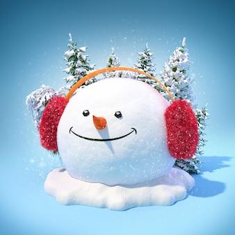 Cabeça de boneco de neve feliz em um protetor de orelhas em um monte de neve sobre fundo azul. ilustração de natal incomum.
