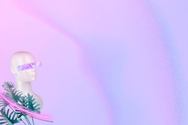 Cabeça de boneco legal com folhas de xanadu