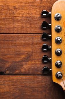 Cabeça de guitarra de close-up