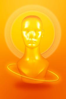 Cabeça de manequim amarela em fundo laranja