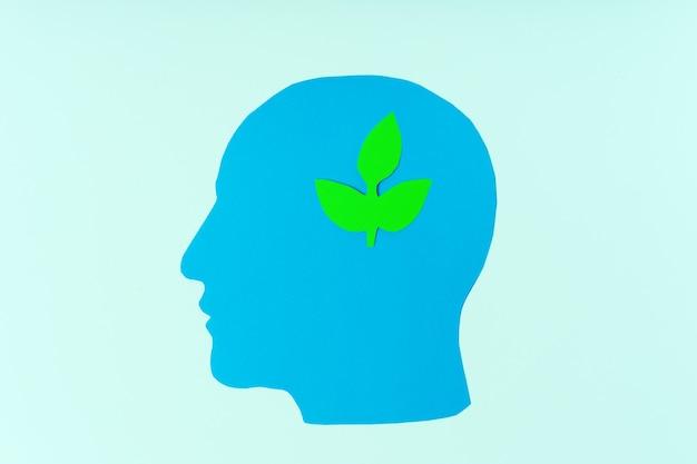 Cabeça de papel e planta verde esculpida o conceito de restauração ecológica de recursos naturais eco