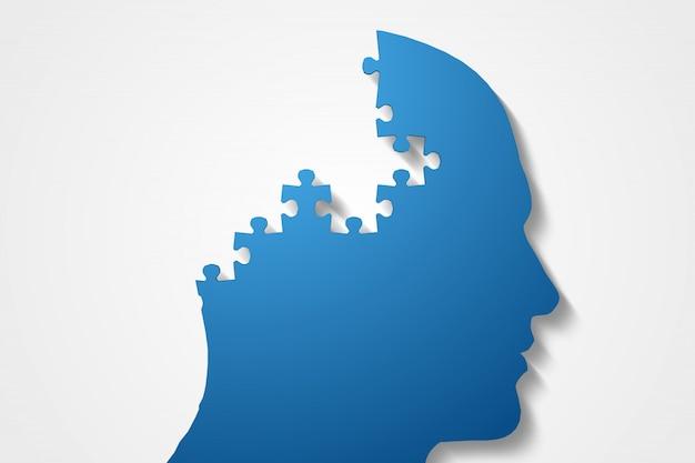 Cabeça de quebra-cabeça azul com peças faltando
