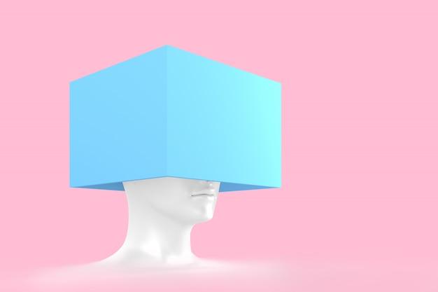 Cabeça feminina branca com uma caixa azul nele