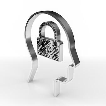 Cabeça humana com uma fechadura de labirinto. renderização 3d