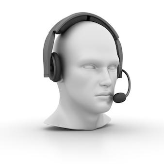 Cabeça humana dos desenhos animados 3d com fone de ouvido