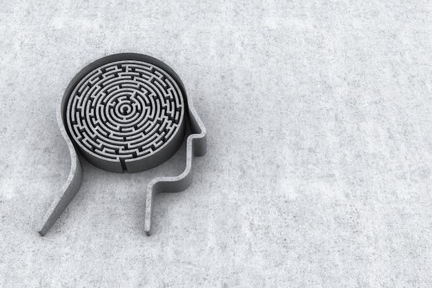 Cabeça humana e dentro de um labirinto com fundo de concreto. renderização 3d