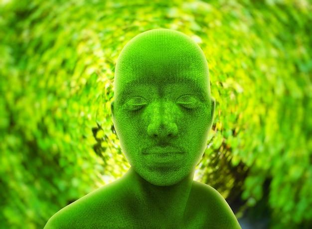 Cabeça humana verde contra folhagem