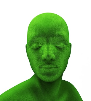 Cabeça verde humana