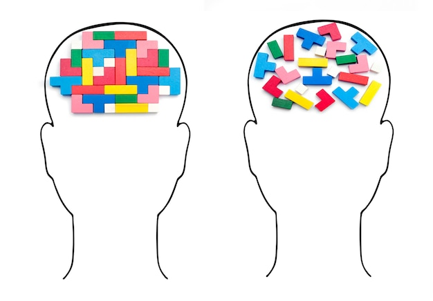 Cabeças com cérebros humanos. inteligência racional e irracional de cubos.
