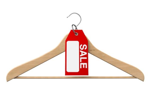 Cabide com etiqueta de venda em um fundo branco