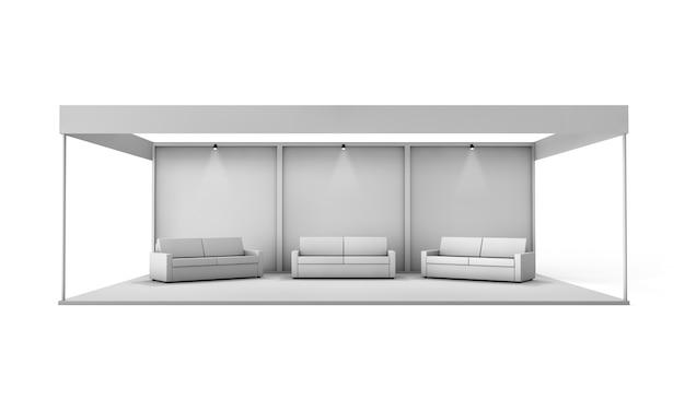 Cabine de exposição com sofás