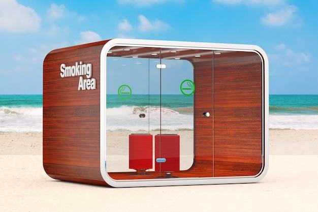 Cabine de fumar. sala especial para fumantes. área para fumar cigarros, tabaco, vipes e e-cigarros no close up extremo do oceano ou da praia de areia do mar. renderização 3d