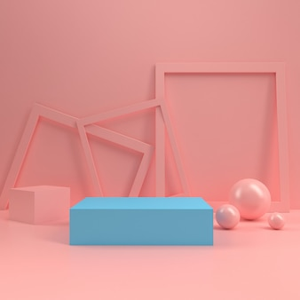 Cabine de pastel pódio círculo palco exibir tabela modelo mock up composição de parede de madeira mínima renderização em 3d