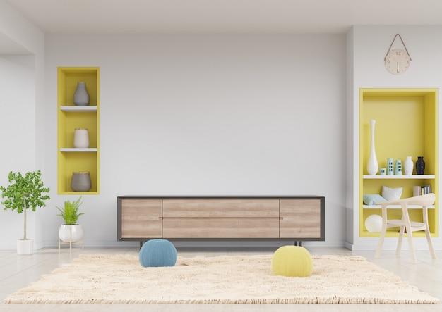 Cabinet tv na moderna sala de estar com prateleira amarela, mesa, flor, cadeira e planta no fundo da parede branca, rendição 3d