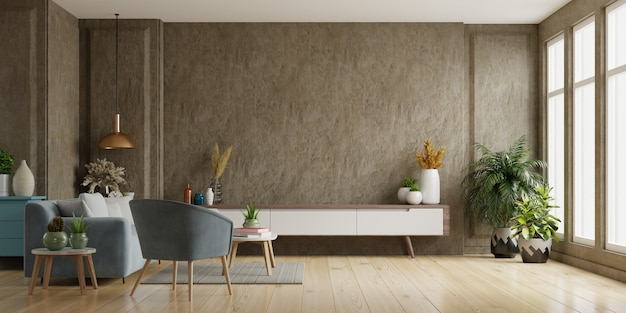 Cabinet tv na moderna sala de estar parede de concreto, renderização em 3d