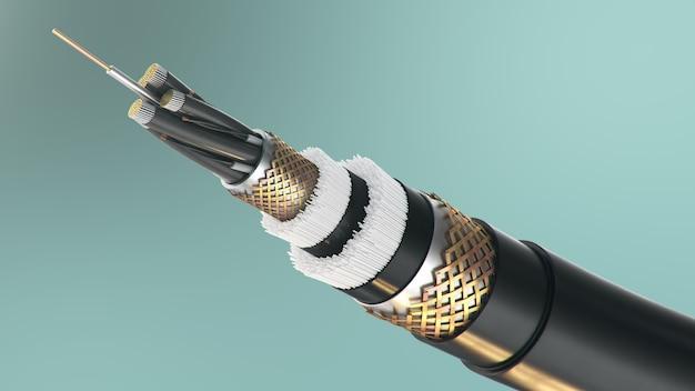 Cabo de fibra óptica em um fundo colorido. tecnologia de cabos do futuro. seção transversal detalhada do cabo