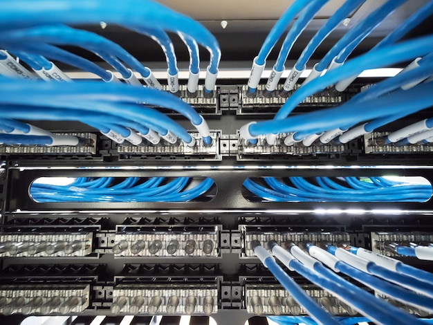 Cabo de rede e patch panel no gabinete do rack