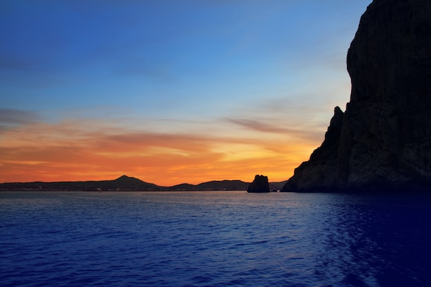Cabo san antonio javea xabia pôr do sol do mar