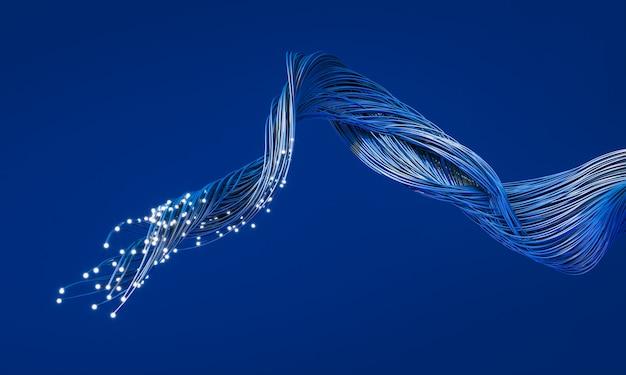 Cabos de fibra óptica com terminações luminosas. conceito de internet rápida, telecomunicações. renderização 3d.