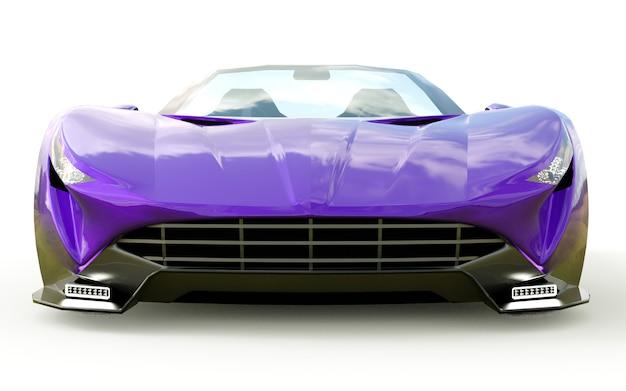 Cabriolet de esportes conceitual roxo para a condução em torno da cidade e pista de corrida em branco
