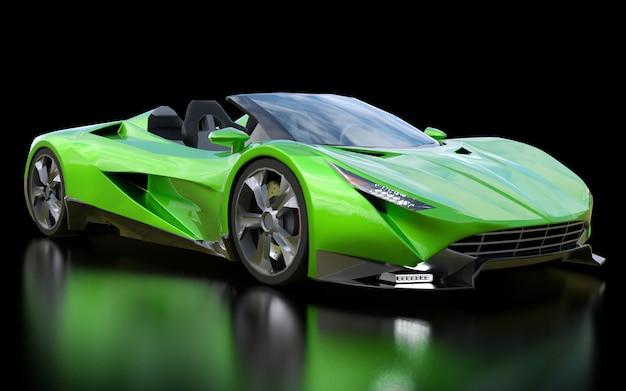Cabriolet de esportes conceitual verde para dirigir ao redor da cidade e pista de corrida