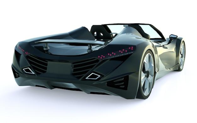 Cabriolet esportivo conceitual preto para dirigir pela cidade e pista de corrida em um fundo branco. renderização 3d.