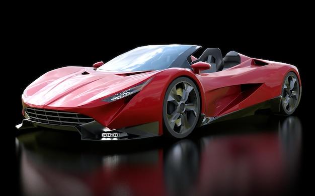 Cabriolet esportivo conceitual vermelho para dirigir pela cidade e pista de corrida em um fundo preto. renderização 3d.