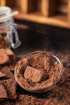 Cacau em pó doce trufa de chocolate sobremesa natural doces refeição lanche na mesa cópia espaço