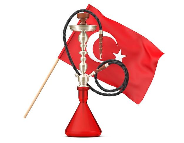 Cachimbo de água de vidro oriental com bandeira turca em um fundo branco