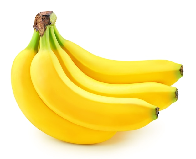 Cacho de bananas isolado no branco.