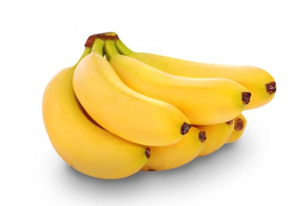 Cacho de bananas no fundo branco