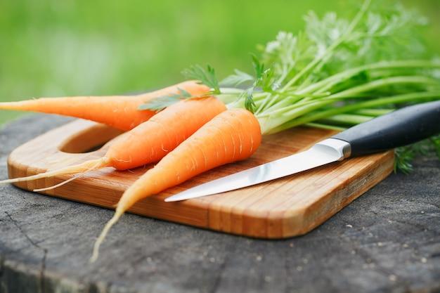 Cacho de cenouras frescas em madeira rústica