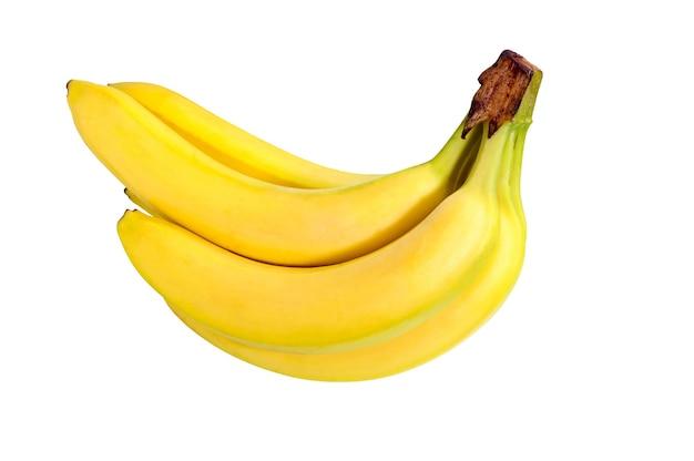 Cacho de frutas bananas isoladas no fundo branco.