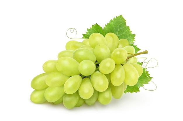 Cacho de uva verde com folhas soladas em fundo branco.