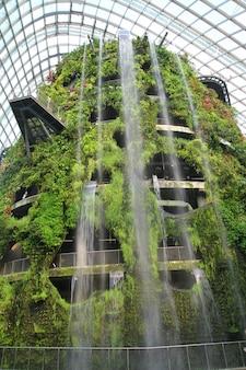 Cachoeira a abóbada da floresta da nuvem - jardim pela baía em singapore.