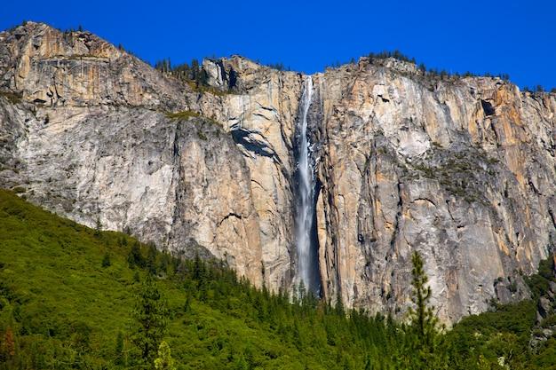 Cachoeira de queda de cavalinha de yosemite na primavera na califórnia