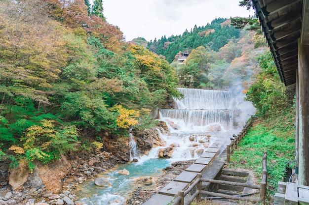 Cachoeira em tsuchiyu onsen no lindo outono (folhas caídas) em tohoku, fukushima, japão