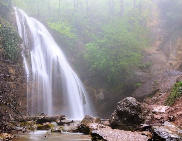 Cachoeira flui em floresta de montanha verde, tronco de árvore caído encontra-se na água, grandes pedras localizadas na costa