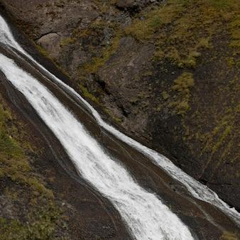 Cachoeira, ligado, líquen, coberto, montanha