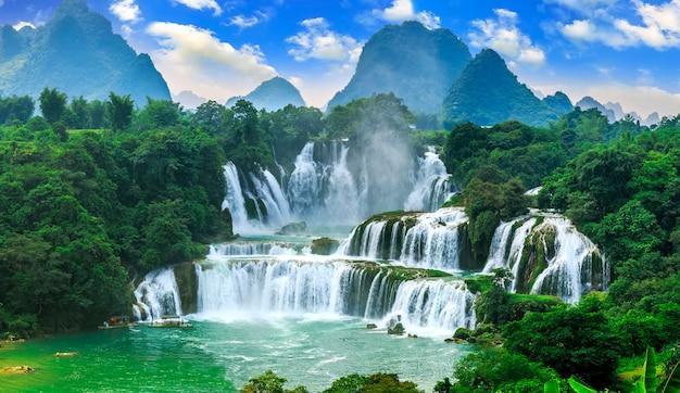 Cachoeira, limpo, turista, azul, fluxo, asiático