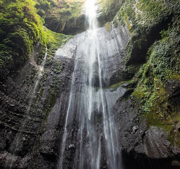 Cachoeira majestosa fluindo no penhasco rochoso na floresta tropical
