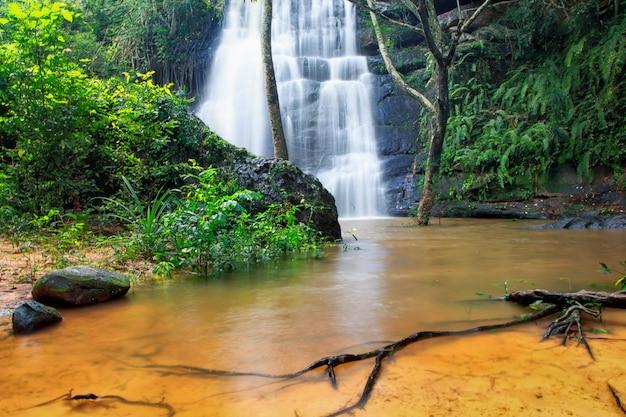 Cachoeira na natureza marco público selecione foco