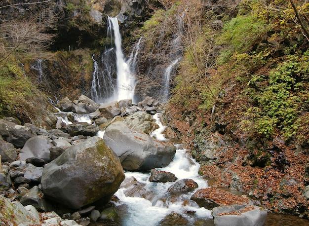 Cachoeira panorâmica urami em nikko, japão, no final do outono