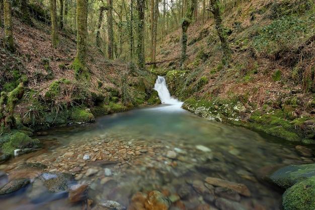 Cachoeira pequena no rio de la fraga na galiza, espanha.
